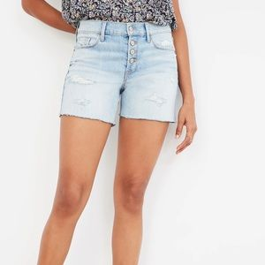 Mid-Rise Distressed Button-Fly Cut-Off Jean Shorts